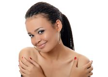 The girl the mulatto with a beautiful make-up. The girl the mulatto with beautiful make-up on white background Stock Photo