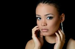 The girl the mulatto with a beautiful make-up Royalty Free Stock Image