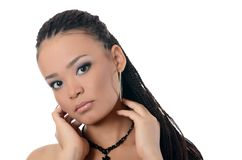The girl the mulatto with a beautiful make-up Stock Photography