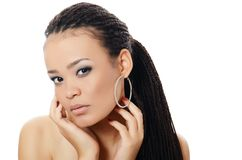 Girl the mulatto with a beautiful make-up Stock Images