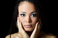 Girl the mulatto with a beautiful make-up Royalty Free Stock Photos