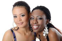 The girl the mulatto and the black girl. The girl the mulatto and black girl on white Royalty Free Stock Photo