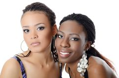 The girl the mulatto and the black girl Royalty Free Stock Photography