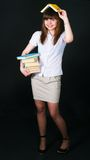 The girl with multi-colored books Royalty Free Stock Photo