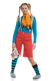 Girl in multi-coloured clothes Stock Images