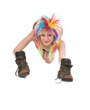 The girl with multi-coloured hair Royalty Free Stock Photography