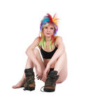 The girl with multi-coloured hair Stock Photo