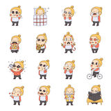 Girl multicolored stickers (emoji) vector set. Cute naive style. Stock Photography