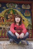 Girl and Murals Stock Photography