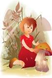 girl and mushroom Stock Photos