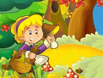 The girl on the mushrooming - seeking the mushrooms in the glade Royalty Free Stock Photos