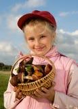 Girl with Mushrooms Stock Photo