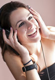 Girl and music Stock Photos