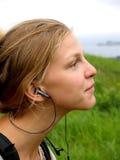 Girl and music Stock Photo