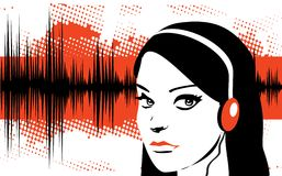 Girl & music. Beautiful black teenager girl listening to music vector illustration