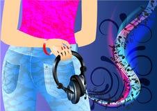 Girl and music Stock Photos