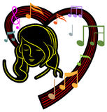 Girl with music. Line art illustration of Girl with music Stock Image