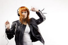 Girl is a music lover stock images