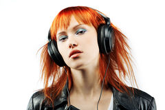 Girl is a music lover Royalty Free Stock Images