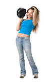 Girl with music player Royalty Free Stock Images
