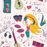 Girl and music seamless pattern Stock Photos
