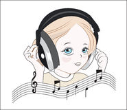 Girl with musical earphones. The little girl in musical earphones, plus notes and a treble clef Royalty Free Stock Image