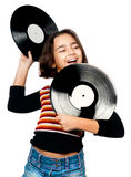 Girl with musical plates Royalty Free Stock Photo