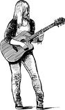 Girl musician. Vector drawing of the young street musician playing the guitar Stock Photography