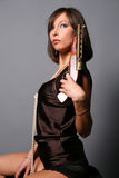 Girl with a musket Royalty Free Stock Photography