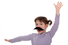 Girl with a mustache. Stock Photography