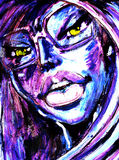 Girl with mysterious eyes. This work performed by my hands using acrylic and paper.I am the owner Stock Images