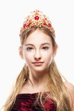 Girl n Red Dress and Crown on her Head Stock Photography
