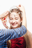 Girl n Red Dress and Crown on her Head Royalty Free Stock Photos