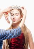 Girl n Red Dress and Crown on her Head Royalty Free Stock Photo
