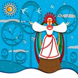 The girl in national clothes singing traditional Christmas congratulations to in Ukraine royalty free illustration