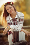 Girl in national clothes Stock Photos