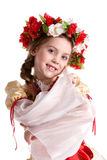 Girl in national costume. Sweet girl in Ukrainian national costume Stock Image