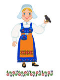 Girl in national costume Swedish and  blackbird Stock Photography