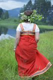 Girl in national dress stock photography