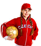 Girl in national jersey of Czech Republic Royalty Free Stock Photography