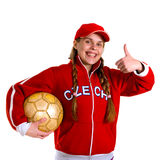 Girl in national jersey of Czech Republic Royalty Free Stock Photo
