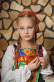 Girl in russian costume stock photos