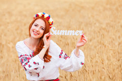 Girl in national ukrainian clothes Stock Image