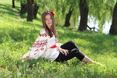 Girl in the national Ukrainian costume Stock Photography