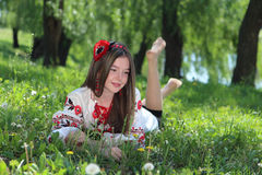 Girl in the national Ukrainian costume Royalty Free Stock Photography