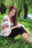 Girl in the national Ukrainian costume Stock Photo