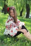 Girl in the national Ukrainian costume Stock Photos