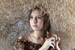 Girl with a natural bush Stock Photography