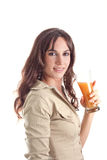 Girl with natural juice Royalty Free Stock Photo