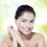 Girl with natural skin and black hair Royalty Free Stock Images